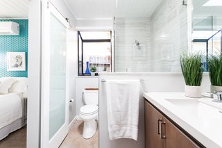 A sliding door was also added to the bathroom during the renovation.