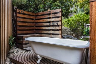 A private outdoor shower and bath create a perfect little nook to enjoy the surrounding nature.