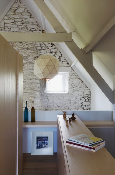 The renovation sacrificed some of the upstairs floor space to a create a mezzanine.