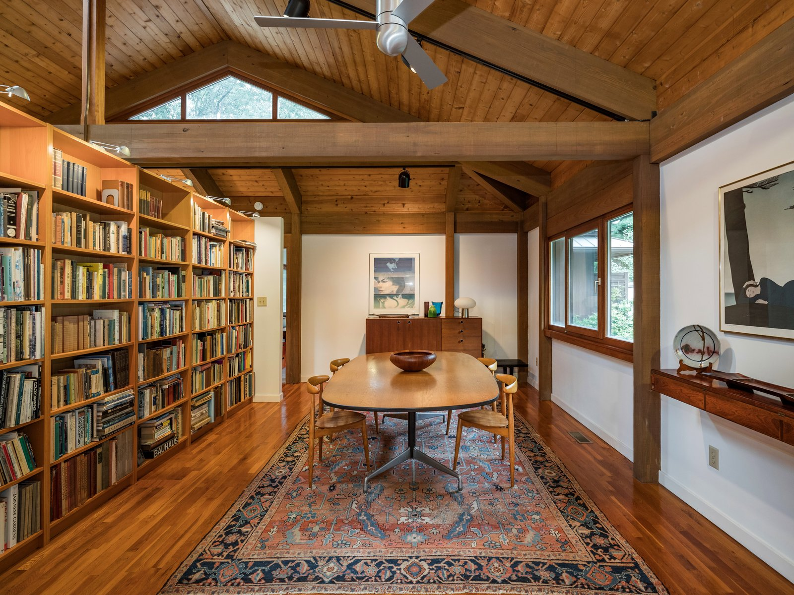 Post-and-beam home dining room