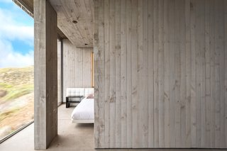A sliding door can section off the sleeping area as needed.