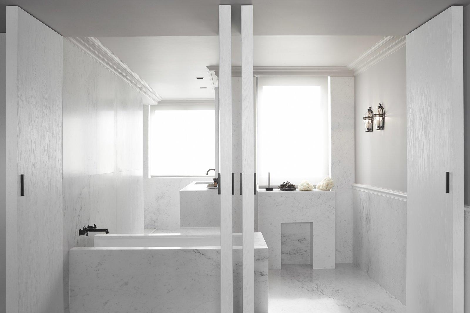 Kennedy Apartment Paris marble bathroom