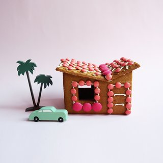 Based in Australia, McKean Studio chose sunny Palm Springs was an obvious source of gingerbread house inspiration. They IKEA-hacked a few prepared kits, modifying the designs to craft three midcentury houses.