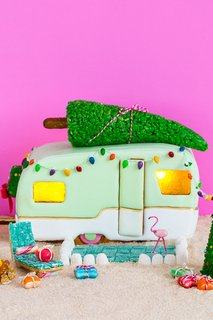 This retro camper comes complete with a recipe and a tutorial. We love the addition of Christmas decor which includes the vintage-looking lights, a tree on top, and even a little wreath in the back.