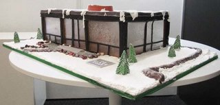 Sweet Lisa's Exquisite Cakes is a bakery in Connecticut that did this amazing gingerbread version of Philip Johnson's iconic Glass House.