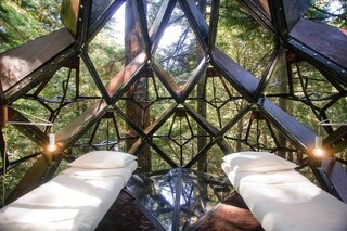 The interior of the Pinecone is a 100-square-foot octagon, however the tree house can be custom made in a larger size.