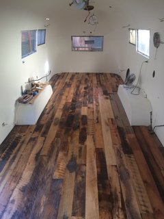 "The couple finished the floors with Oxmo Polyx-Oil. ""We like that it's natural and even food-grade safe,"" they explained."