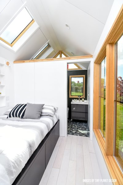 Skylights and large windows keep the interiors bright and airy.