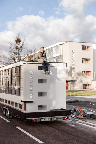 Berlin-based architect Van Bo Le-Mentzel designed the 161-square-foot bus version of the iconic workshop wing of the Bauhaus school building in Dessau.