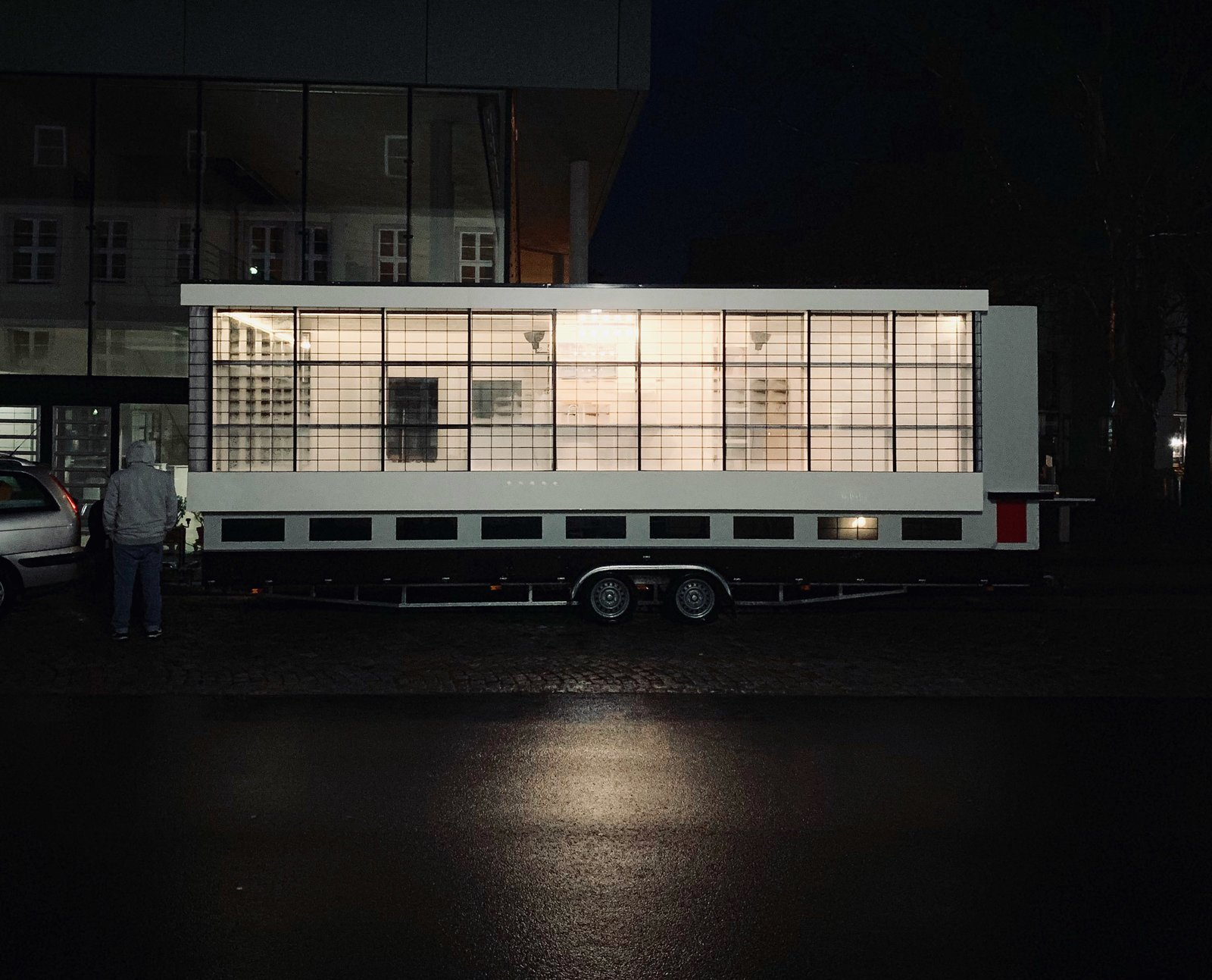 Exterior, Camper, Metal, Stucco, Flat, Glass, and Metal Gropius' Bauhaus building in Dessau is a mecca for design lovers.   Exterior Stucco Camper Photos from The Bauhaus Bus Embarks on a World Tour to Celebrate the School's Centennial