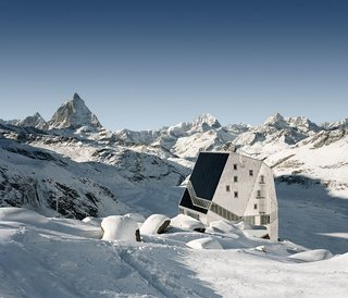 The Monta Rosa Hut is a popular ski refuge near Zermatt in the Swiss Alps. The building is virtually self-sufficient, supplying all its own energy needs and even recycling its wastewater.