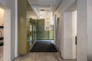 A cool corridor with built-in storage.