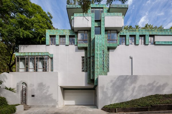 The Samuel-Novarro home's distinctive facade.