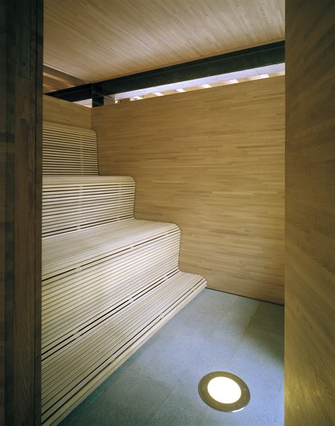 The serene wood-clad sauna.