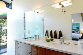 The updated master bath gets lots of natural light.