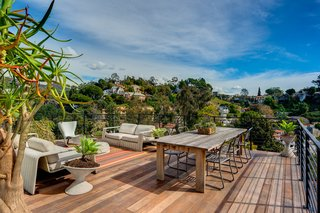 One more level down is a spacious deck that boasts 270-degree views of the canyon.