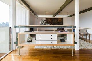 Hardwood flooring runs throughout the home.