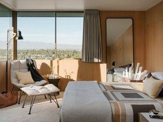 The bedroom overlooks the valley below.