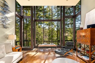 The living room features soaring double-height windows which fill the home with natural light and views of the surrounding forest.