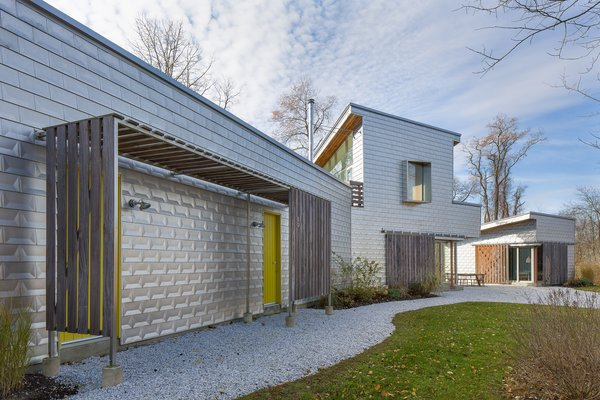 The home's signature shiny exterior is composed of energy-efficient insulating concrete forms.