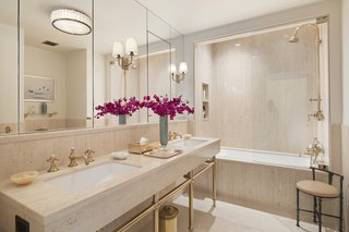 One of the stylish guest bathrooms.