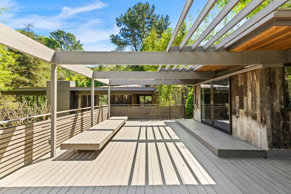 A deck with seating.