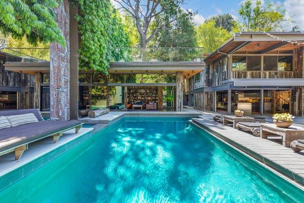 The pool deck has a resort-like feel.