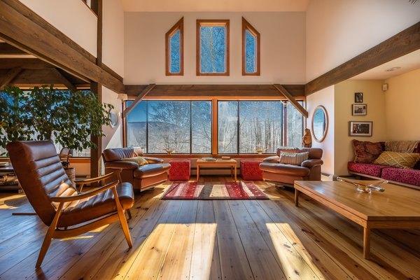 Large windows provide scenic views from almost every angle.