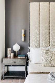 Details of the master bedroom headboard and side table.