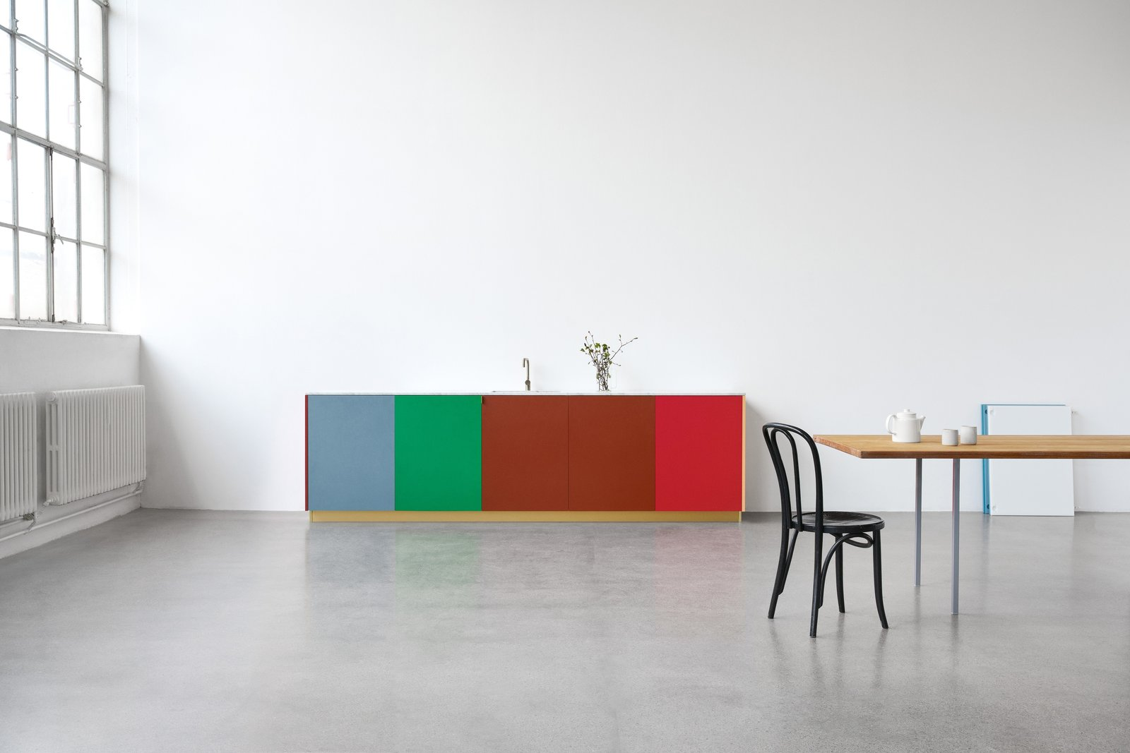 Kitchen, Colorful, Concrete, Marble, and Drop In The design for MATCH uses unorthodox elements like Muller Van Severen's signature material, a durable and wax-like polyethylene traditionally used in cutting boards.  Best Kitchen Photos from Get a Designer Kitchen on an IKEA Budget With Reform's New Fronts and Tops