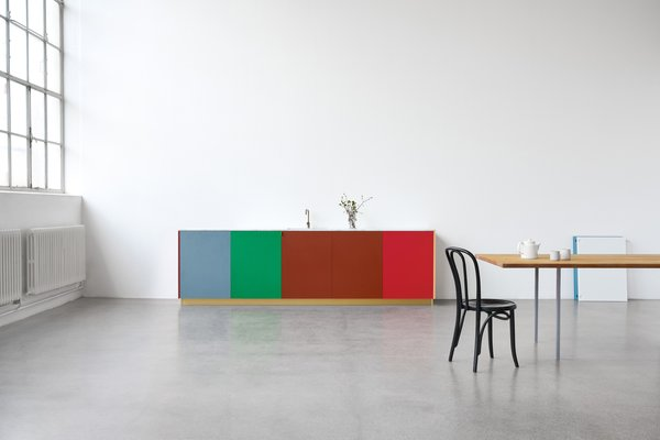 The design for MATCH uses unorthodox elements like Muller Van Severen's signature material, a durable and wax-like polyethylene traditionally used in cutting boards.