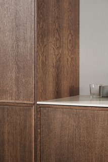 """Designed as """"push to open,"""" all of the fronts and drawers can also be purchased with handles."""