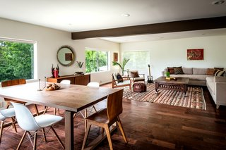 The living/dining room shows off Pannici's bohemian/midcentury modern vibe.