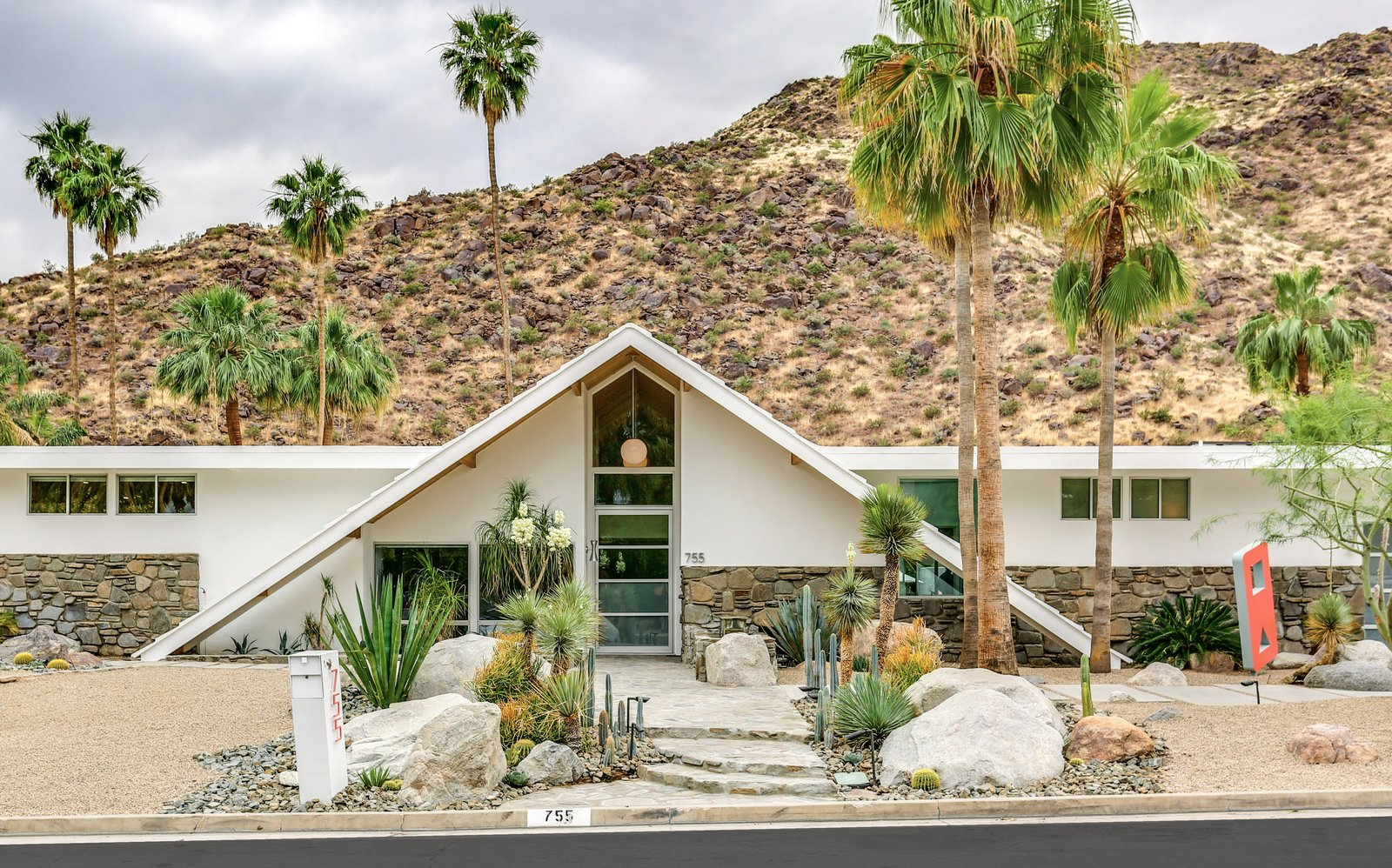 Swiss Miss A-frame exterior palm springs renovation