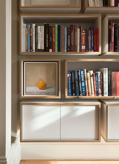 The shelving echoes the interiors of some Blue Bottle cafes.