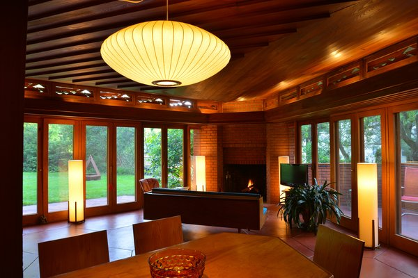 About an hour's drive from New York City, the Stuart Richardson House is a Usonian treasure with a hexagonal motif. As with most of Wright's Usonian designs, there are floor-to-ceiling windows to allow for natural light. The living room's 14 French doors open to a patio for indoor/outdoor living.