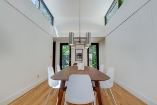 Clerestory windows brighten the tall space.