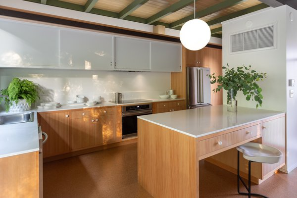 The kitchen is completely new but designed according to its original footprint. The materials were chosen in accordance with Straub's favored materials: vertical grain Douglas Fir.