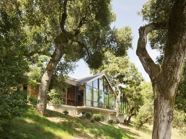The gabled structure peers out from the dense oak grove to the meadow below.