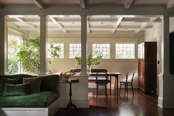Architectural elements like coffered ceilings and columns were added to the dining room to give the space the charm and character that is usually associated with older homes.