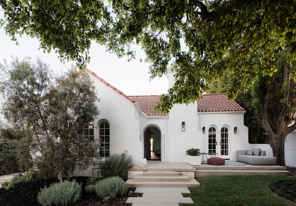 The family were drawn to the Spanish Colonial–style home's charming exterior—which was not changed in the renovation.