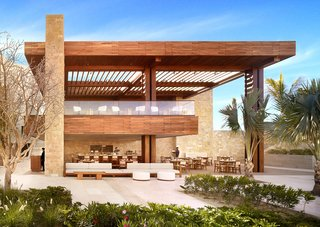 The Pacific restaurant is an indoor/outdoor space that exudes warmth by mixing materials like polished granite, warm local Cabo stone, and limestone with teak and ipe woods.