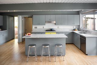 The open kitchen is bright and airy.