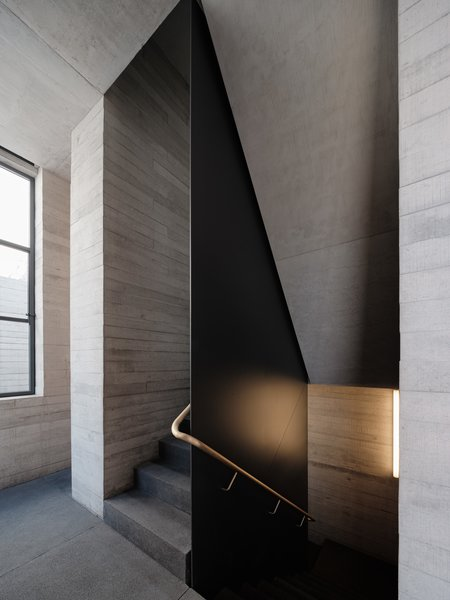 A stairway plays with light and form.