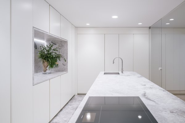 Kitchen White Cabinets Marble Floors