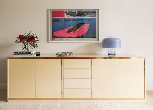 The credenza is Willy Rizzo for Mario Sabot and the table lamp is Murano glass by Carlo Nason Mazzega.