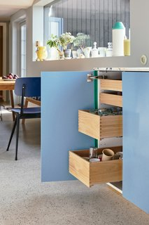 The custom pull-out drawers are the key to kitchen organization.