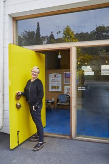 Barbara Bestor at the entrance of her Silverlake office.