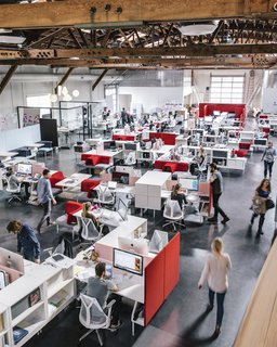 """Providing a sanitary safe environment will become standard in office design, with surface materials that are anti-microbial, security robots like Cobalt (which we designed), daily deep cleans, non-touch gestural interfaces, and more personal space. Office design is always changing, and this is a new opportunity to design for maximum health: a physical and mental wellbeing approach of the most precious asset of any business—its people,"" shares Behar. Pictured here is  Fuseproject's office before the pandemic."