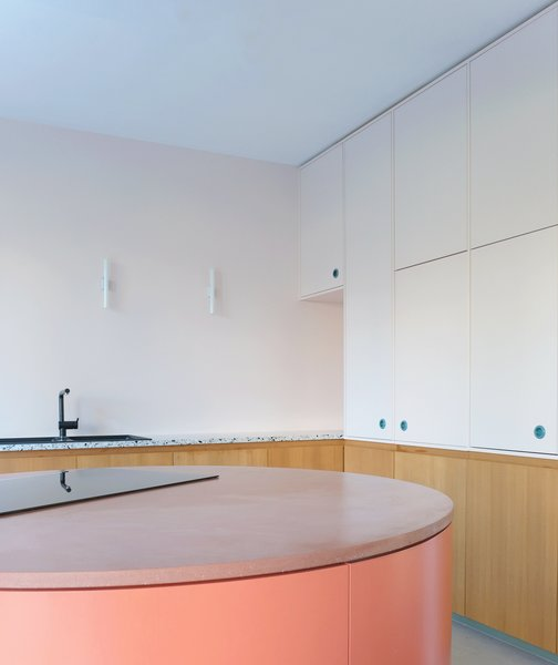 High cupboards hide the microwave and the oven as well as provide storage. A terrazzo countertop lines the back wall and adds a sense of texture to the space.